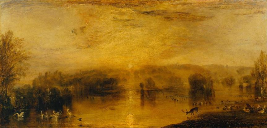 The Lake, Petworth: Sunset, a Stag Drinking c.1829 Joseph Mallord William Turner 1775-1851 Accepted by HM Government in lieu of tax and allocated to the Tate Gallery 1984. In situ at Petworth House http://www.tate.org.uk/art/work/T03884